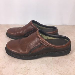Merrell Karma Redwood Brown Leather Slip on Clogs